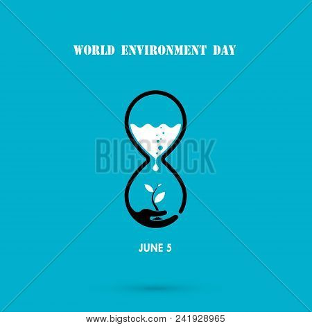 Water Drop And Sandglass Icon With Tree Icon.world Environment Day Concept Vector Logo Design Templa
