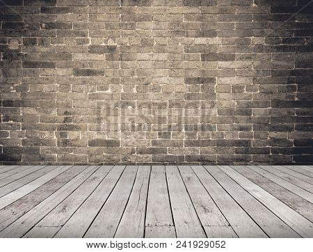 Empty Room Perspective,grunge Brick Wall And Wood Plank Floor, Mock Up Template For Display Or Monta