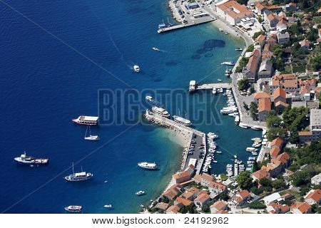 Bol harbour from air