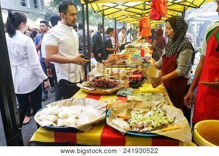 Kuala Lumpur, May 23 2018: Vendors Selling Cuisine At Street Bazaar Catered For Iftar Or Breaking Fa