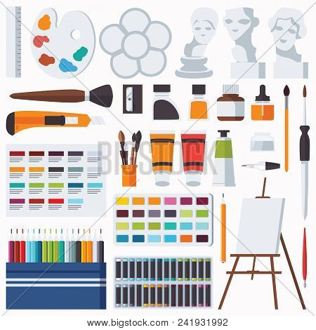 Vector Flat Set With Fine Artist Stationery. Watercolor, Tempera, Easel, Palette, Color Pencils, Gyp