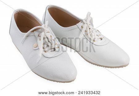 Pair Of Women's Sport Shoes Isolated On A White Background, Close Up.