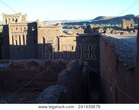 Scenic Kasbah Ait Ben Haddou Or Benhaddou Fortified City With Evening Sun Light On Walls, African At