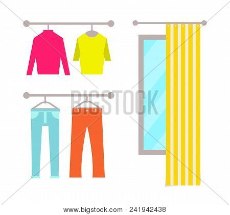 Clothing Store With Changing Room Poster And Clothing Store, Sweaters And Trousers Mirror And Curtai