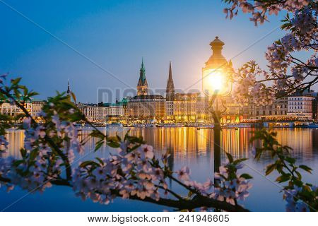 Burn Lantern In Park With Branches Of Cherry Blossom Flowers On Beautiful Alster River And Hamburg T