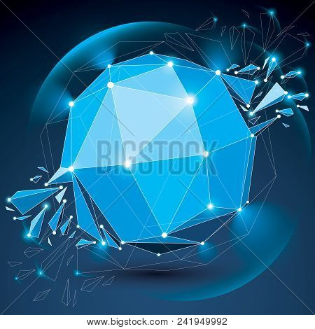 Vector dimensional wireframe sparkling blue object with radiance circles, spherical demolished shape with particles and wreckage. 3d lines mesh element broken into pieces. Digital technology art. poster