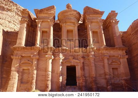 Ad Deir In The Ancient City Of Petra, Jordan. Petra Has Led To Its Designation As A Unesco World Her