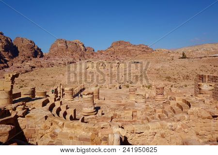 Roman Columns Of The Great Temple Complex In Petra (rose City), Jordan. The City Of Petra Was Lost F
