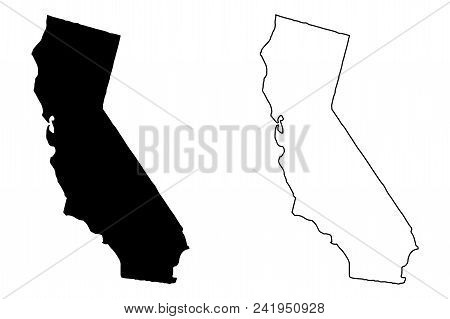 California Map Vector Illustration, Scribble Sketch California Map