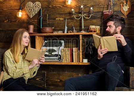 Soulful Evening Concept. Family Spend Pleasant Evening With Books, Interior Background. Father Insti