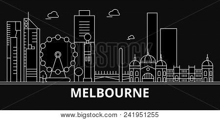 Melbourne Silhouette Skyline. Australia - Melbourne Vector City, Australian Linear Architecture, Bui