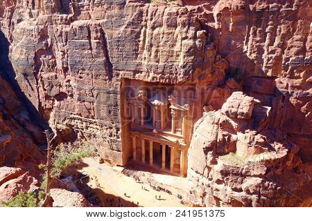 Treasury From Above. Al Khazneh In The Ancient City Of Petra, Jordan, Unesco World Heritage Site