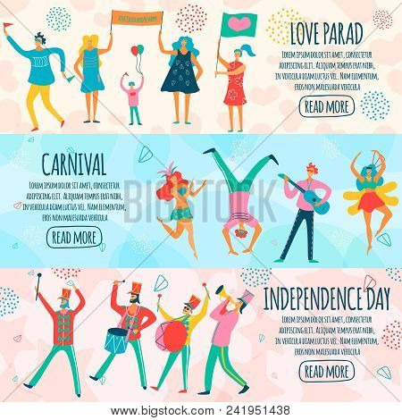 Parade Of People During Carnival, National Holiday And Thematic Event Horizontal Flat Banners Isolat