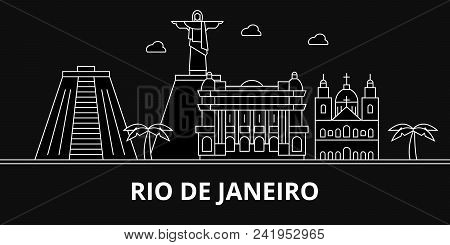 Rio De Janeiro Silhouette Skyline. Brazil - Rio De Janeiro Vector City, Brazilian Linear Architectur