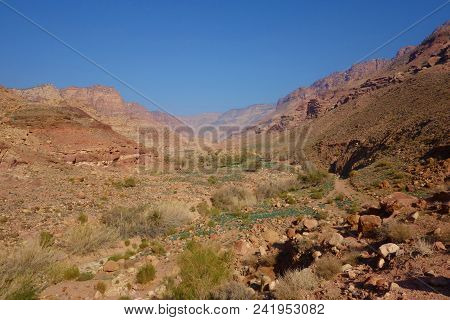 Canyon Of Dana Biosphere Nature Reserve Landscape Near Dana Historical Village, Jordan, Middle East