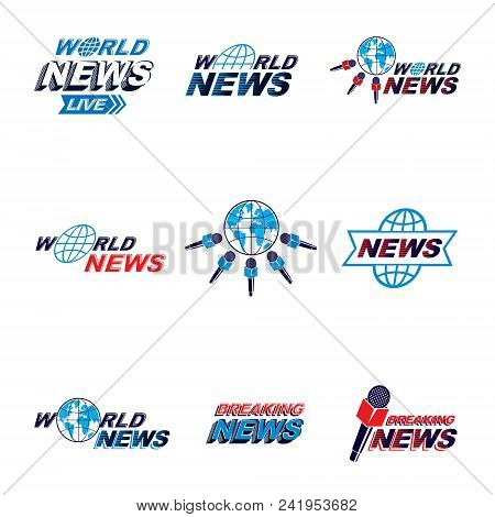 Set Of Public Relations Concept And Press Conference Theme Vector Emblems And Posters. Blue Earth, J