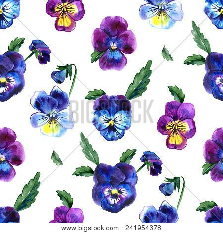 Watercolor Illustration Of Violet Flowers. Seamless Pattern. Watercolor Pansies. Seamless Background