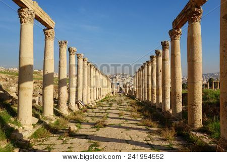 Columns Of The Cardo Maximus, Ancient Roman City Of Gerasa Of Antiquity , Modern Jerash, Jordan, Mid
