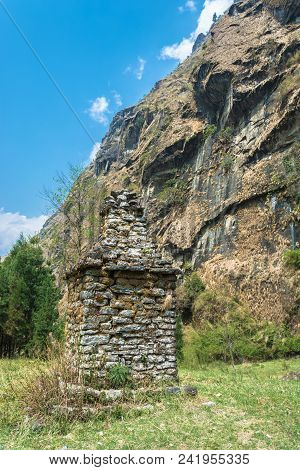 Old Stone Stupa In The Himalayas, Nepal.