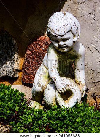 Garden Structure, Structure Garden Boy With Water Vast, Spring Garden Figurine Water Boy.