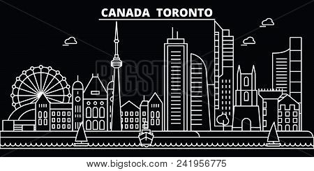 Toronto City Silhouette Skyline. Canada - Toronto City Vector City, Canadian Linear Architecture, Bu