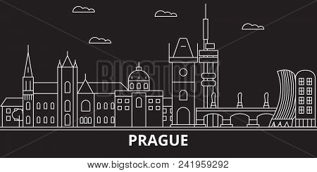 Prague City Silhouette Skyline. Czech Republic - Prague City Vector City, Czech Linear Architecture,