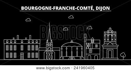Dijon Silhouette Skyline. France - Dijon Vector City, French Linear Architecture, Buildings. Dijon L