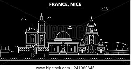 Nice Silhouette Skyline. France - Nice Vector City, French Linear Architecture, Buildings. Nice Line