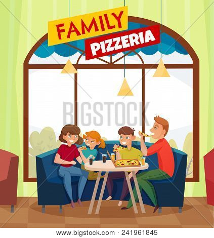 Flat Restaurant Pub Visitors Colored Composition With Big Red Family Pizzeria Headline Vector Illust