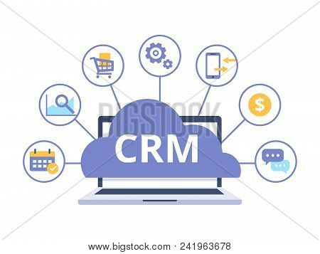 Crm Concept Design With Vector Elements. Flat Icons Of Accounting System, Planning Tasks, Support, D