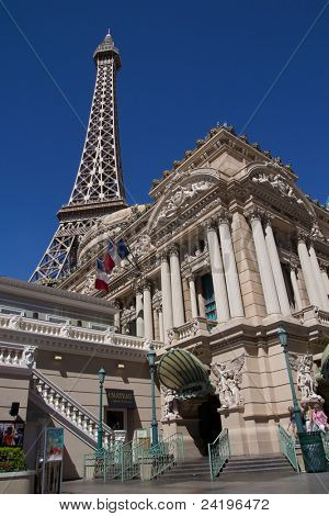 LAS VEGAS - AUG 15: Paris Las Vegas hotel on August 15, 2011 in Las Vegas, Nevada.  Opened in 1999, at a cost of $785 million, it includes a 541-foot (165 m) tall replica of the Eiffel Tower.