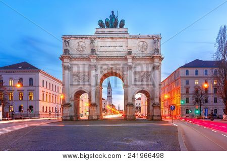 The Siegestor Or Victory Gate, Triumphal Arch Crowned With A Statue Of Bavaria With A Lion-quadriga,