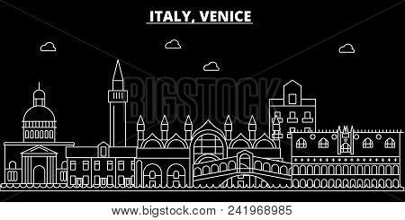Venice City Silhouette Skyline. Italy - Venice City Vector City, Italian Linear Architecture, Buildi