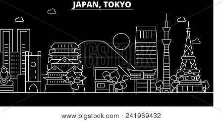 Tokyo City Silhouette Skyline. Japan - Tokyo City Vector City, Japanese Linear Architecture, Buildin