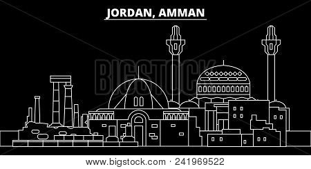 Amman Silhouette Skyline. Jordan - Amman Vector City, Jordian Linear Architecture, Buildings. Amman
