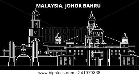 Johor Bahru Silhouette Skyline. Malaysia - Johor Bahru Vector City, Malaysian Linear Architecture, B