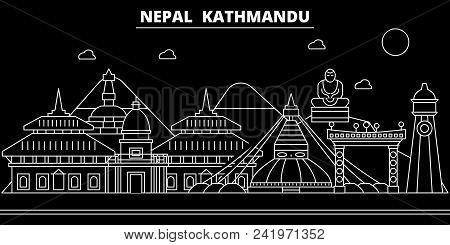 Kathmandu Silhouette Skyline. Nepal - Kathmandu Vector City, Nepalese Linear Architecture, Buildings