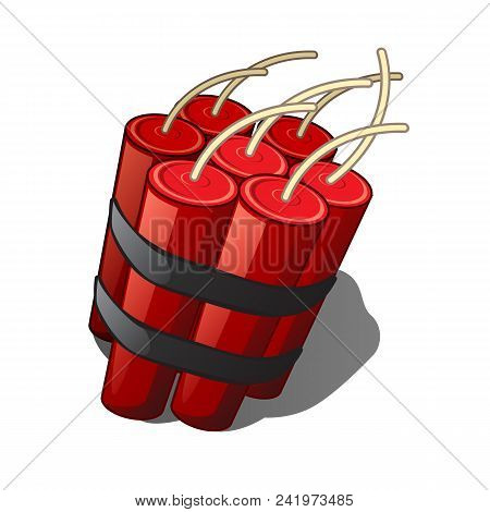 The Bundle Of Sticks Of Dynamite Isolated On A White Background.