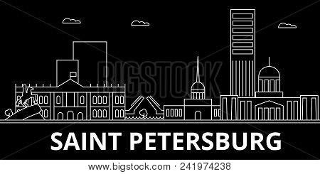 Saint Petersburg City Silhouette Skyline. Russia - Saint Petersburg City Vector City, Russian Linear