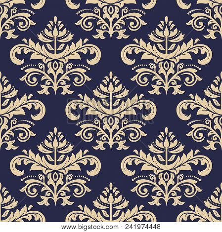 Classic Seamless Navy Blue And Golden Pattern. Traditional Orient Ornament. Classic Vintage Backgrou