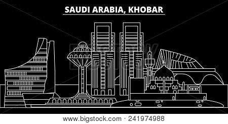 Khobar Silhouette Skyline. Saudi Arabia - Khobar Vector City, Saudi Arabian Linear Architecture, Bui