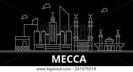 Mecca Silhouette Skyline. Saudi Arabia - Mecca Vector City, Saudi Arabian Linear Architecture, Build