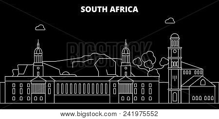 South Africa Silhouette Skyline, Vector, City, African Linear Architecture, Buildings. South Africa