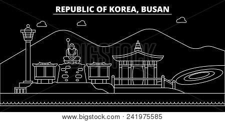 Busan Silhouette Skyline. South Korea - Busan Vector City, Korean Linear Architecture, Buildings. Bu