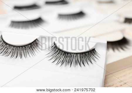 Closeup Of False Eyelashes In Pack On Table