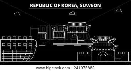 Suweon Silhouette Skyline. South Korea - Suweon Vector City, Korean Linear Architecture, Buildings.