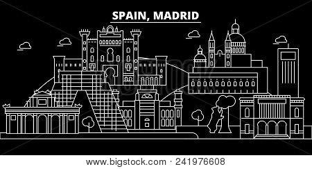 Madrid City Silhouette Skyline. Spain - Madrid City Vector City, Spanish Linear Architecture, Buildi