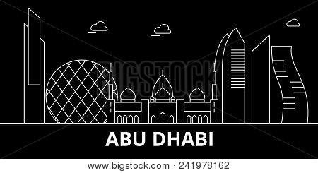 Abu Dhabi City Silhouette Skyline. United Arab Emirates - Abu Dhabi City Vector City, Arab Linear Ar