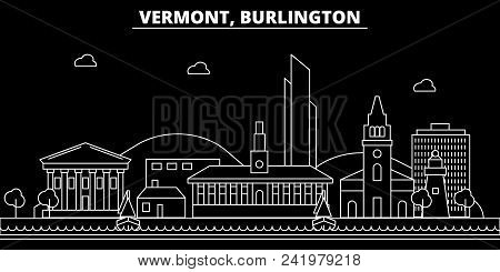 Burlington Silhouette Skyline. Usa - Burlington Vector City, American Linear Architecture, Buildings