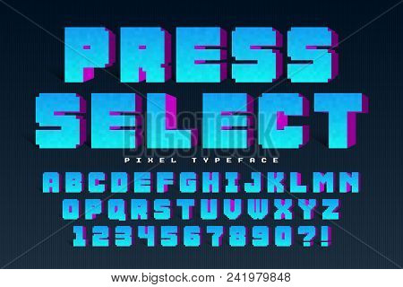 Pixel Vector Font Design, Stylized Like In 8-bit Games. Press Select. High Contrast, Retro-futuristi